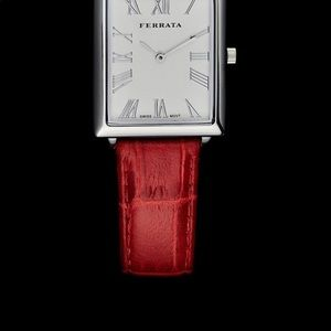 Accessories - Ferrata red leather strap watch